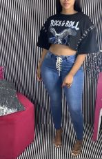 Denim Lace Up Skinny Jeans Pants LSD-9048