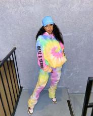 Tie Dye Print Hoodies Pants Two Piece Suits MN-9280