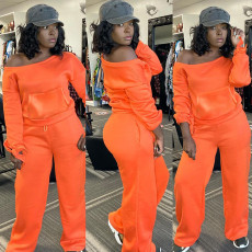 Casual Solid Color Long Sleeve Pants Two Piece Set TMF-5023