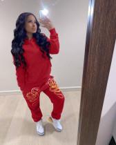 Plus Size Printed Fashion Hoodie Sweatshirts Trousers Two Piece Set QYF-5028