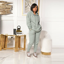 Casual Solid Thiken Hoodies Two Piece Sets CYA-8814