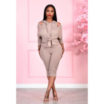 Solid Hooded Off Shoulder Cropped Pants 2 Piece Sets QY-5222