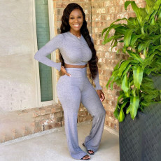 Solid Ruched Long Sleeve Two Piece Pants Set YF-9706