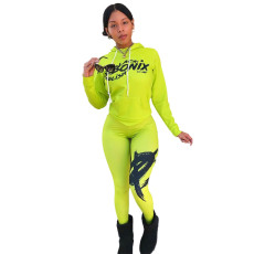 Fashion Casual Print Solid Color Hoodie And Pants Two Piece Set YUF-9052