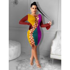 Contrast Color Lace Up Hollow Sexy Bandage Dress CHY-1294