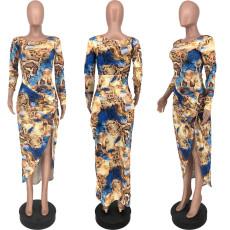 Sexy Print Slim Long Sleeve Slit Dress YJF-8370