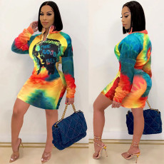 Plus Size Long Sleeve Zipper Printed Mini Dress SHE-7234