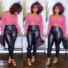 Black PU Leather Zipper Skinny Pants BLI-2208