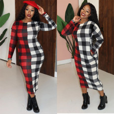 Plus Size Plaid Long Sleeve Maxi Dress SHE-7233