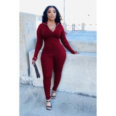 Sexy Solid Long Sleeve Tight Jumpsuits BLI-2202