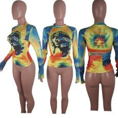 Tie Dye Print Long Sleeve Slim Tops BLI-2206