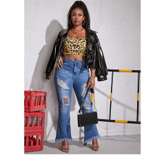 Plus Size 5XL Denim Ripped Hole Flared Jeans HSF-2388