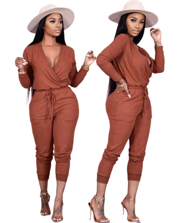 Sexy Casual Solid Color Long Sleeve Jumpsuit YSF-459
