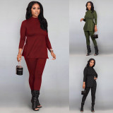 Solid Color Long Sleeve Split Top And Leggings Pants Two Piece Set OLYF-6026