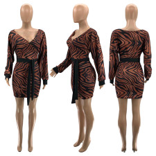Long Sleeve Brown Sexy Print Dress SZF-6067