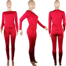 Plus Size 5XL Long Sleeve Pant Casual Sports Two Piece Set OBF-5058