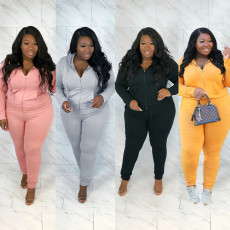 Plus Size 5XL Solid Hooded Casual Two Piece Pants Set WAF-7118