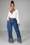 Sexy Side Tassel Washed Mid Waist Denim Pants LA-3236