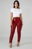 Sexy Sequin Tassel Plush PU Leather Pants LA-3241