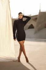 Sexy Long Sleeve Zipper Slim Mini Dress OJS-9263