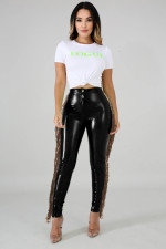 Sexy Sequin Tassel Plush PU Leather Pants LA-3241