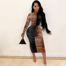 Sexy Tight Long Sleeve Printed Dress FENF-059