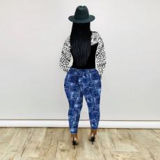 Sexy Skinny Print Long Sleeve Pants Two Piece Set FENF-064