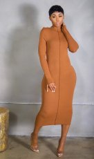 Solid Long Sleeve Slim Long Dress CM-807