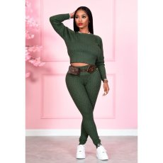 Casual Knitted Sweater Two Piece Pants Set CL-6084