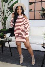 Casual Striped Off Shoulder Long Sleeve Mini Dress WSM-5208