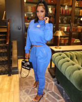 Casual Solid Long Sleeve Pocket 2 Piece Pants Set OMY-8089