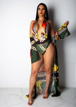 Fashion Sexy Printed Cloak + One Piece Bikini OMY-5095