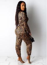 Sexy Leopard Print Zipper Jumpsuit OMY-5162