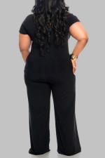 Plus Size 5XL Sexy Solid Color V-neck Short Sleeve Jumpsuit OMY-8015