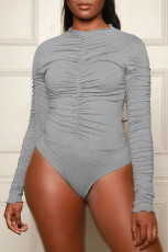 Solid Long Sleeve Ruched Sexy Bodysuit WY-6695