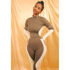 Casual Patchwork Slim Fit Two Piece Pants Set ASL-6323