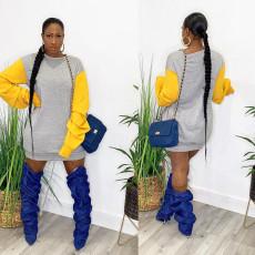 Casual Patchwork Piles Sleeve Sweatshirt Dress FNN-8567