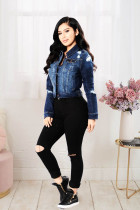 Plus Size Casual Ripped Hole Denim Jacket LX-6043