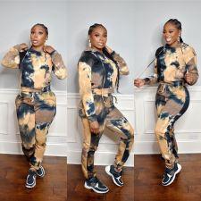 Tie Dye Print Hoodies Two Piece Pants Set OYF-8236
