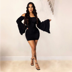 Sexy Off Shoulder Ruched Dress WTF-9031