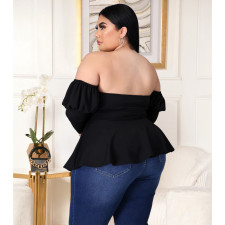 Plus Size 5XL Off Shoulder Peplum Tops ASL-7009