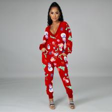 Plus Size Christmas Printed V Neck Harem Jumpsuit YM-9265