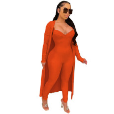 Solid Color Jumpsuit+Outwear Two Piece Sets WTF-9006