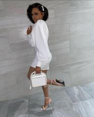 Sexy Long Sleeve Ruched White Mini Dress MK-3039