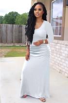 Plus Size Sexy White Seven-point Sleeve Dress OMY-8075