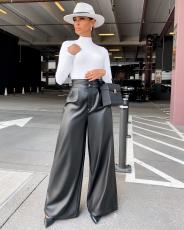 PU Leather Black High Waist Wide Leg Pants OD-8411