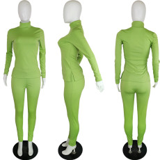 Solid Color Fashion Side Split Long Sleeve Top And Pants Suit QYF-5031