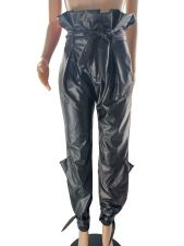Fashion Micro-Plush Tie Up PU Leather Pants CQF-926