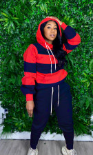 Striped Splice Hooded Sweatshirts Drawstring Trousers 2 Piece Set OLYF-6027