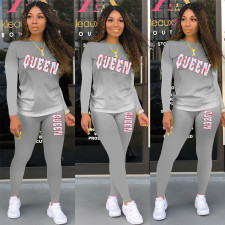 QUEEN Letter Gradient Print Fashion Casual Sports Long Sleeve Pants Suit APLF-1127